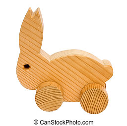 Old wooden toy rabbit - Old vintage homemade wooden rabbit...