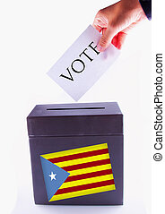 Catalan Urn for vote - Urn for vote, with male hand posting...