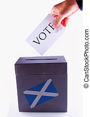 Scottish Urn for vote - Urn for vote, with male hand posting...