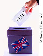 UK Urn for vote - Urn for vote, with male hand posting vote...