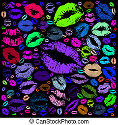 Colorful kisses on the mirror on black background, 2014