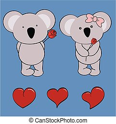 koala baby love cartoon rose set in vector format very easy...