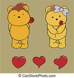 porcupine baby boy and girl cartoon love set in vector...