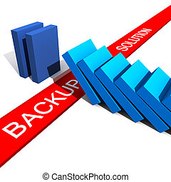 backup can save you - fine 3d illustration of metaphoric...
