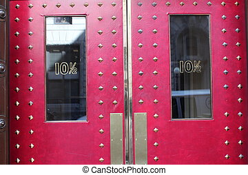 10 1/2 - decorative with brass red doors with glass windows...