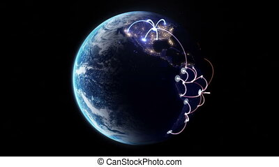 Growing network across the world. beautiful 3d animation,...