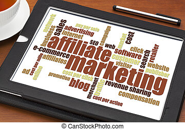 affiliate marketing word cloud on a digital tablet with a...