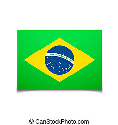Brazil flag isolated on white