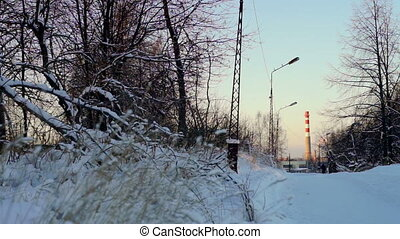 Winter park and tubes of plant at the distance, Petrozavodsk...