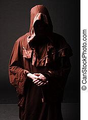 misterio, rezando, Se arrodilla, monje