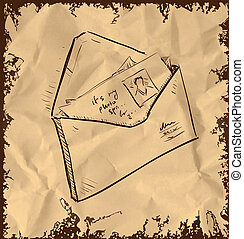 Letter and photos in envelope