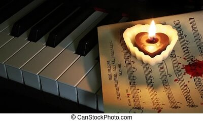 Piano Candle and Blood Drops