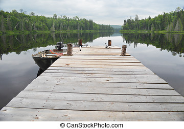 lake pier - Over looking at the fresh water lake from the...