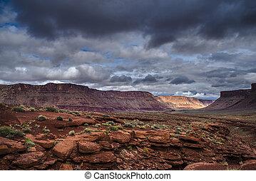 Hurrah Pass Trail Moab Utah - Dark Dramatic clouds and...