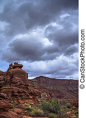 Hurrah Pass Trail Moab Utah - Dark Dramatic clouds and...