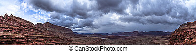 Panoramic shof of the view from the Hurrah Pass Trail Moab...