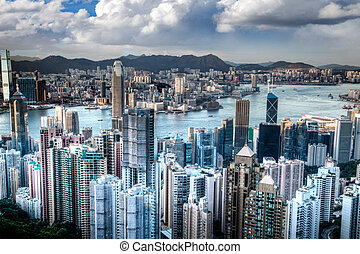 Victoria Harbor in Hong Kong Taken Atop Victoria Peak, HDR -...