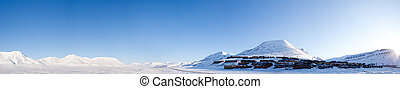 Longyearbyen - A panorama of Longyearbyen on the island of...