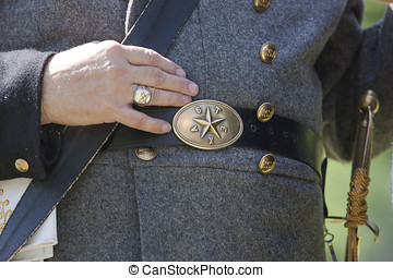 Civil war era buckle - Civil war era buckle and part of...