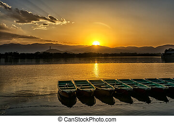 Kunming Lake - The kunming lake under the sunset in Summer...