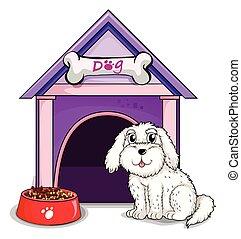 A dog outsite the purple house