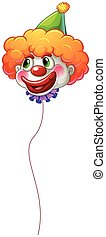 A colourful clown balloon with a string