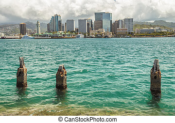 Downtown Honolulu as seen from across Honolulu Harbor