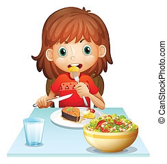 A young woman eating lunch - Illustration of a young woman...