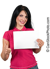 Beauty woman giving thumb-up and holding a blank sign -...