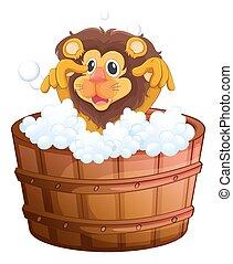 A lion at the bathtub