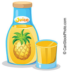 A bottle of pineapple juice - Illustration of a bottle of...
