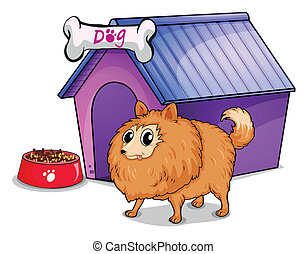A brown dog outside the doghouse