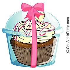 A disposable cub with a cupcake - Illustration of a...