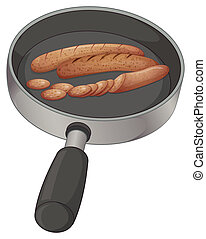 A pan with sausages - Illustration of a pan with sausages on...