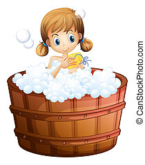 A young girl taking a bath at the bathtub