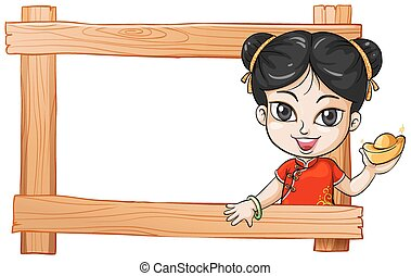 A wooden frame with a lady