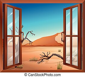An open window with a view of the desert - Illustration of...
