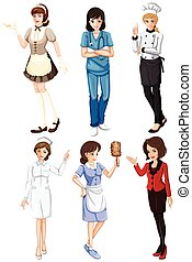 Females with different works - Illustration of the females...