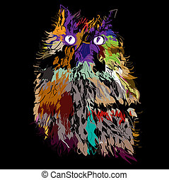 Owl on an black background, hipster symbol, vector illustration. Illustration for t-shirt.