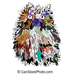 Owl in night, symbol of Halloween, vector illustration. Illustration for t-shirt.