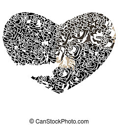 Heart on a white background in gothic style, vector...