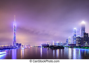 Guangzhou, China skyline on the Pearl River.