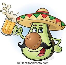 aguacate, cerveza, mexicano, caricatura
