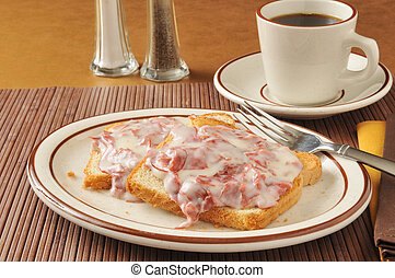 Chipped beef on toast - Chipped beef with gravy on toast...