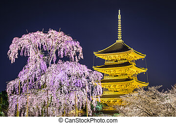 Todai-ji Pagoda in the Spring - Todai-ji pagoda in the...