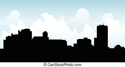Gatineau Silhouette - Skyline silhouette of the city of...