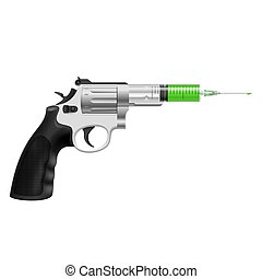 Syringe in revolver - Syringe with green liquid in revolver...