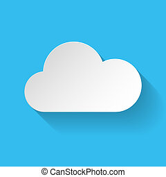 White paper cloud in flat style on blue background