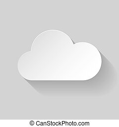 White paper cloud in flat style on grey background