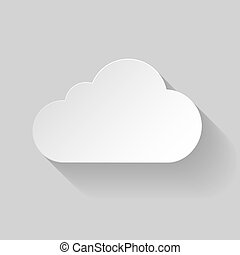White paper cloud - Paper cloud in flat style with long...